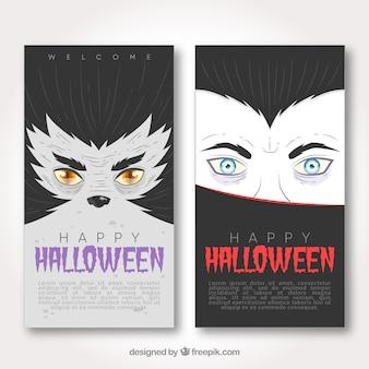 Banners de halloween com vampiro e lobo
