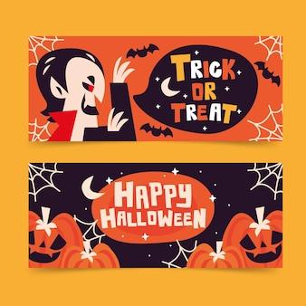 Banners de halloween conjunto estilo