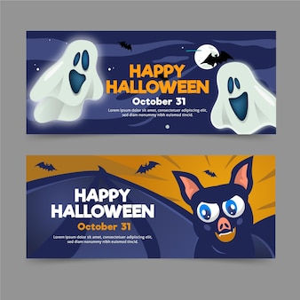 Banners de halloween de design plano