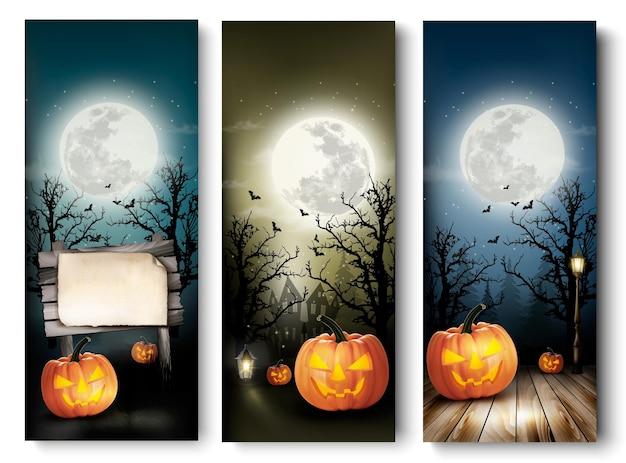 Banners de halloween de férias com abóboras e placa de madeira.