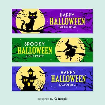 Banners de halloween de lua cheia colorido design plano