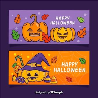 Banners de halloween de mão desenhada com abóboras