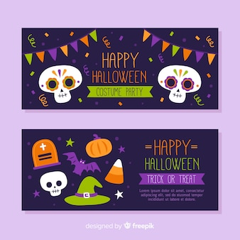 Banners de halloween de mão desenhada com caveiras