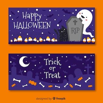 Banners de halloween de mão desenhada no cemitério