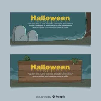 Banners de halloween desenhada mão original