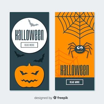 Banners de halloween divertida com design liso