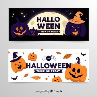 Banners de halloween e abóboras com chapéus de bruxa