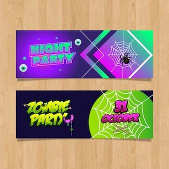 Banners de halloween e festa de design