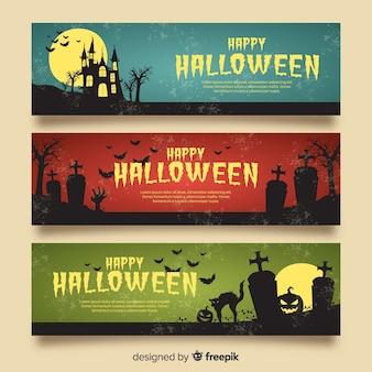 Banners de halloween elegante com estilo vintage