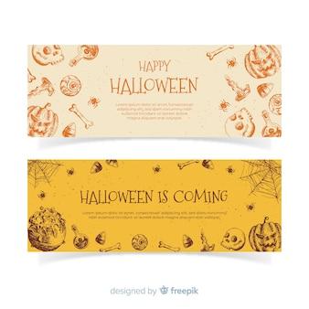 Banners de halloween elegante mão desenhada