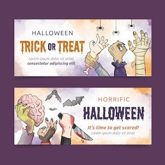 Banners de halloween em aquarela