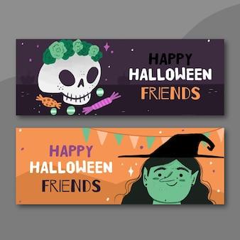 Banners de halloween estilo desenhado à mão