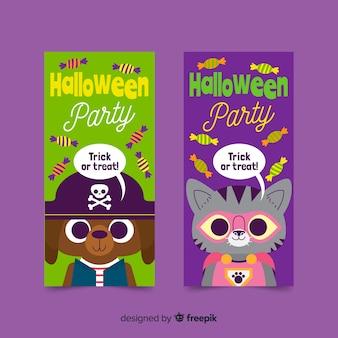 Banners de halloween fofos em design plano