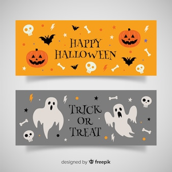 Banners de halloween laranja e cinza