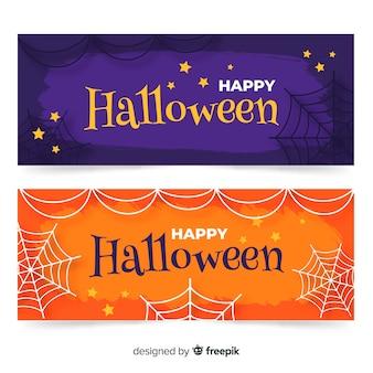 Banners de halloween moderno mão desenhada