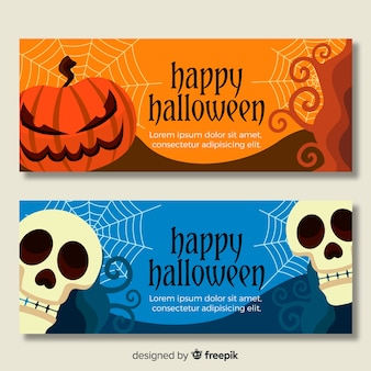 Banners de halloween plana com caveira e abóboras
