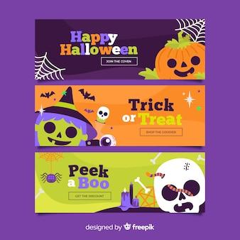 Banners de halloween plana com criaturas assustadoras