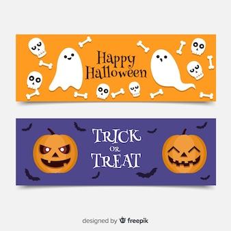 Banners de halloween plana com fantasmas e abóboras