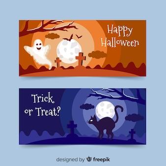 Banners de halloween plana com fantasmas e gato