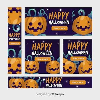 Banners de halloween plana com vistas de abóbora