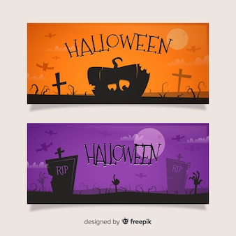 Banners de halloween plana laranja e roxo