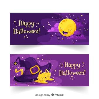 Banners de halloween plana noite estrelada