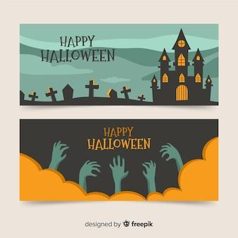 Banners de halloween plana para festa de confraternização