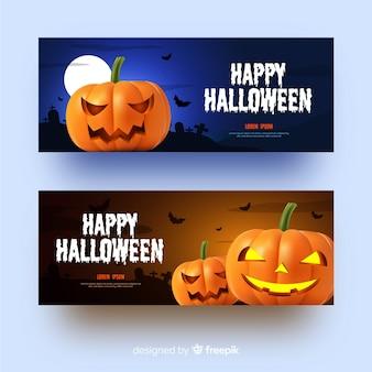 Banners de halloween realistas de abóboras