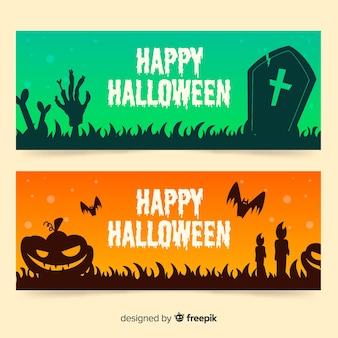 Banners de halloween verde e laranja de mão desenhada