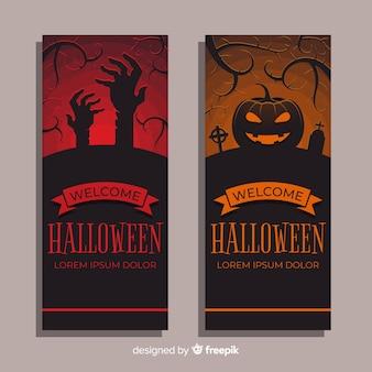 Banners de halloween vermelho e laranja em design plano
