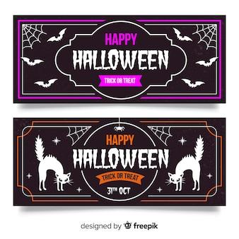 Banners de halloween vintage com morcego e gato preto
