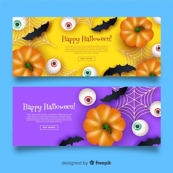 Banners de halloween vista superior abóboras