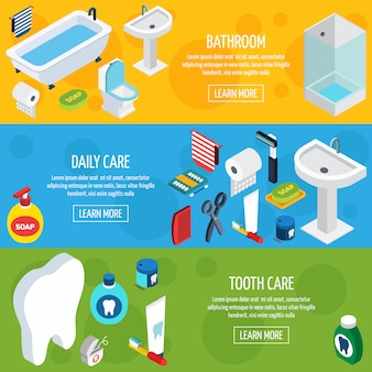 Banners de higiene isométrica