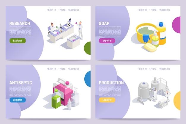 Banners de higienização de produção com ilustração de anti-séptico