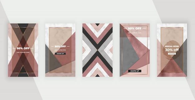 Banners de histórias de mídia social com desenho geométrico, com formas de folha rosa, marrom.