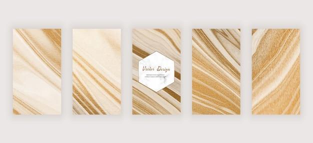 Banners de histórias em mídias sociais com tinta líquida dourada e textura de mármore