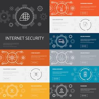 Banners de ícones de 10 linhas de infográfico de segurança na internet. segurança cibernética, leitor de impressão digital, criptografia de dados, ícones simples de senha