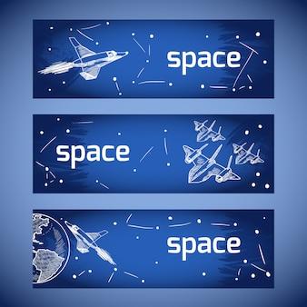 Banners de ícones de aeronaves