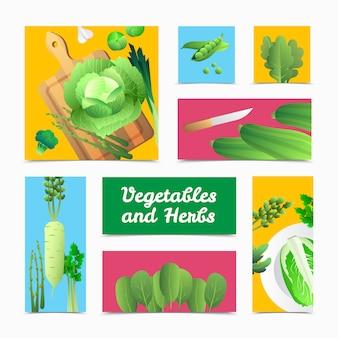 Banners de ícones de legumes verdes cultivados organicamente frescos e composição de cabeçalhos de culinária
