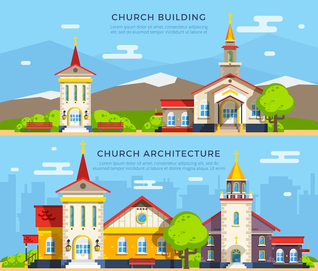 Banners de igreja plana