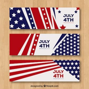 Banners de independência dos eua com design plano