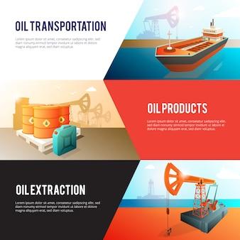 Banners de indústria do petróleo definido com armazenamento de refino de extração de petróleo e transporte