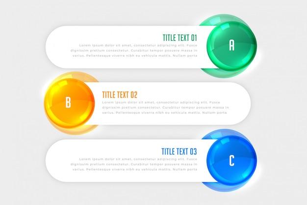 Banners de infográfico branco de três etapas