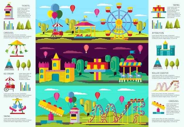 Banners de infográfico colorido de parque de diversões