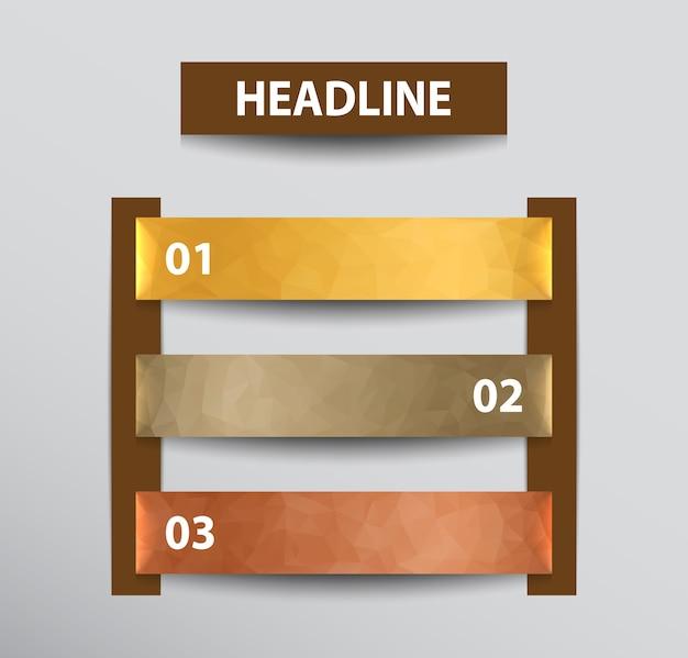 Banners de infográfico com planos de fundo poligonais nas cores ouro, prata e bronze.