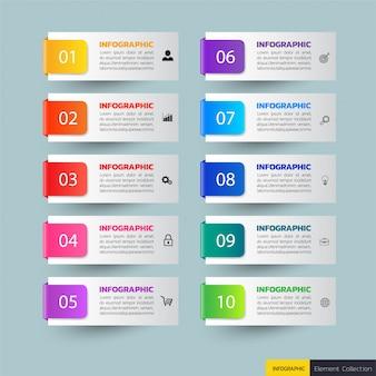 Banners de infográfico de 10 passos
