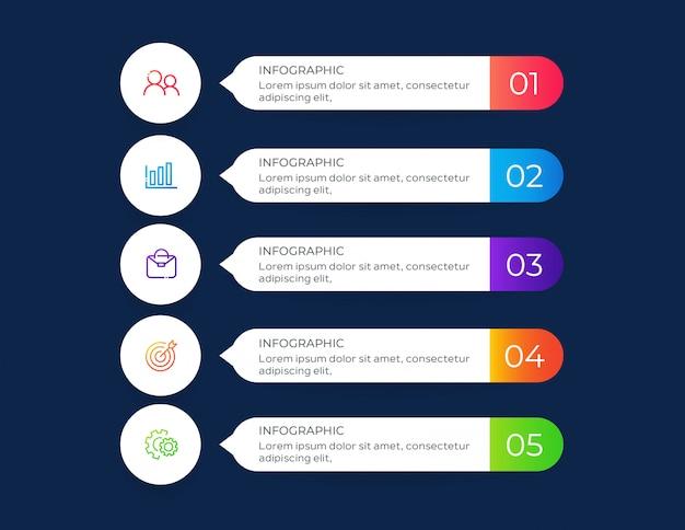 Banners de infográfico de 5 etapas