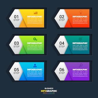 Banners de infográfico de 6 etapas
