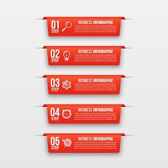 Banners de infográfico modelo de infográficos de negócios com 5 etapas