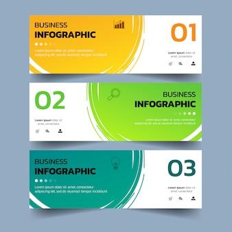Banners de infográficos com respingos de aquarelas.